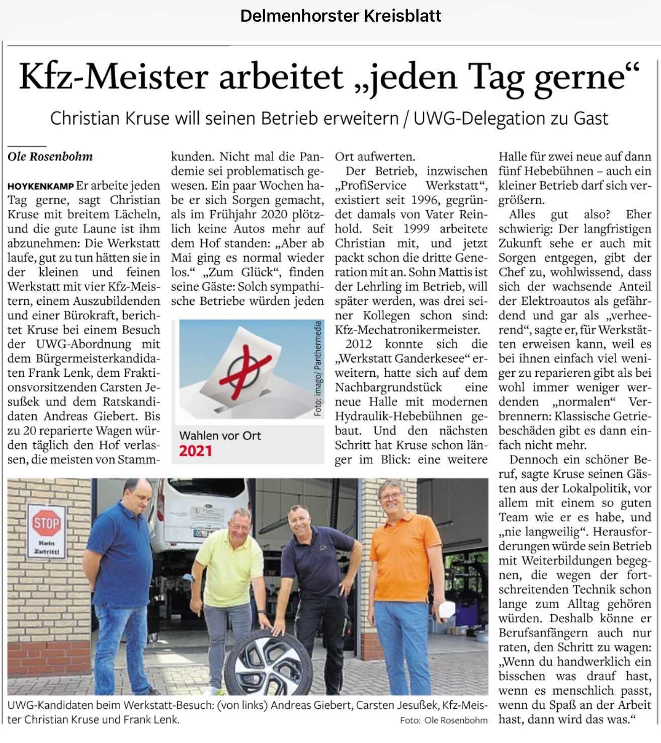 UWG bei KFZ Kruse Hoykenkamp