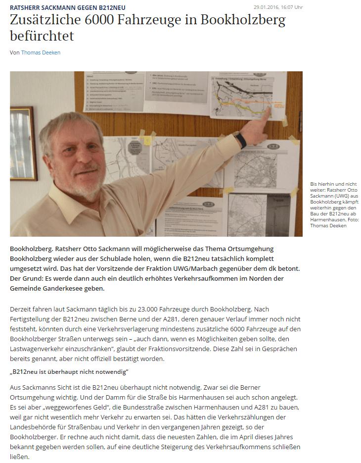 Presseartikel: Zusätzliche 6000 Fahrzeuge in Bookholzberg befürchtet