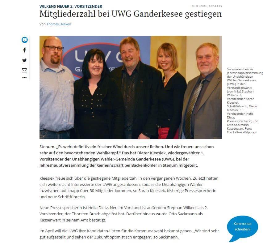 Presseartikel: Mitgliederzahl bei UWG Ganderkesee gestiegen