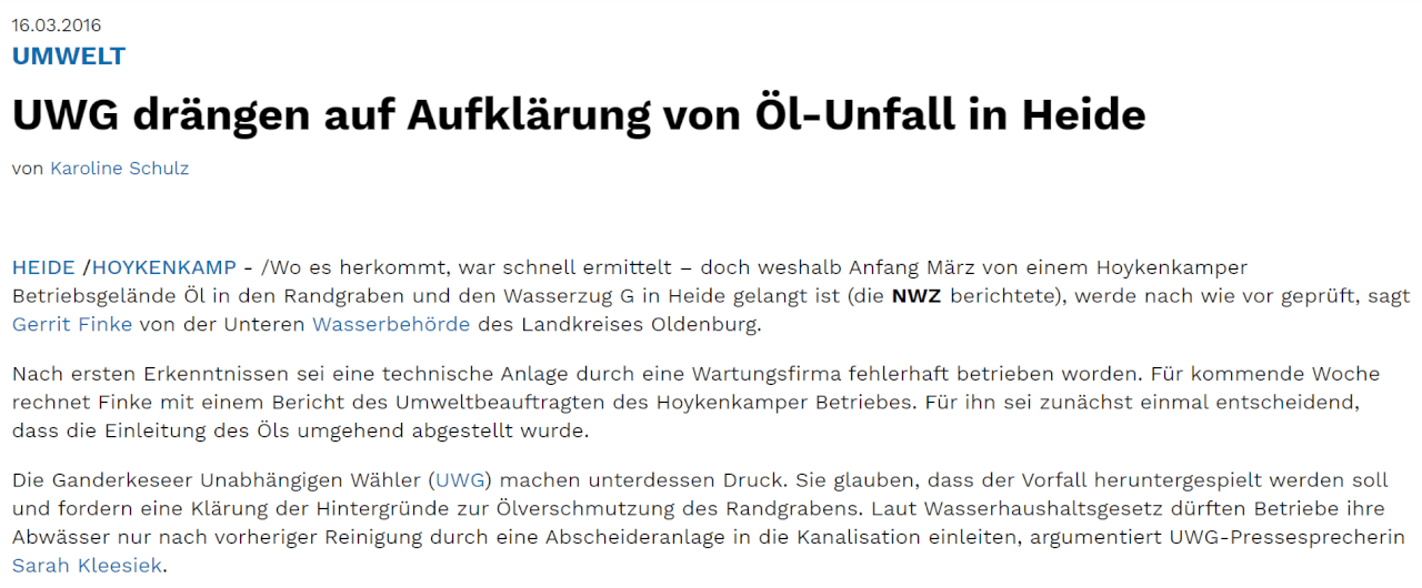 Presseartikel: UWG drängen auf Aufklärung von Öl-Unfall in Heide