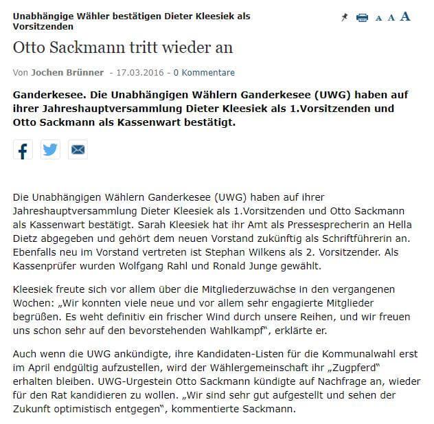 Presseartikel: Otto Sackmann tritt wieder an