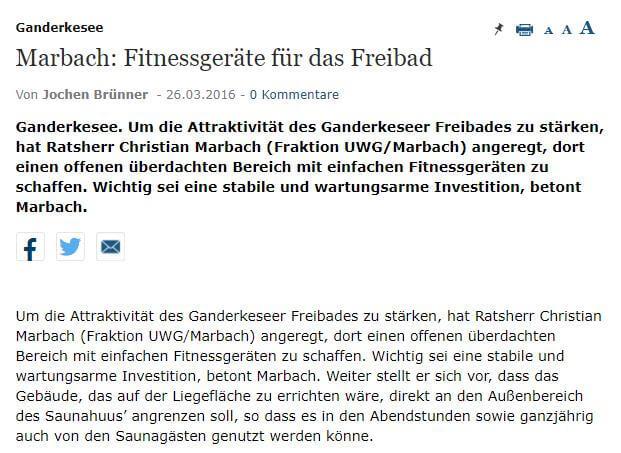 Presseartikel: Marbach - Fitnessgeräte für das Freibad