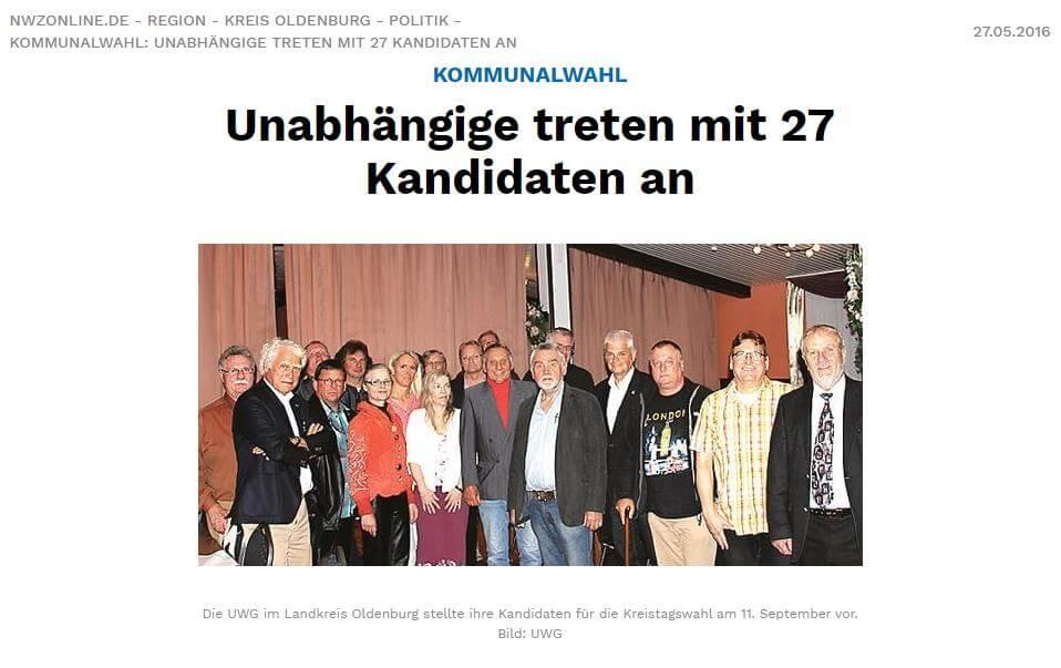 Presseartikel: Unabhängige treten mit 27 Kandidaten an