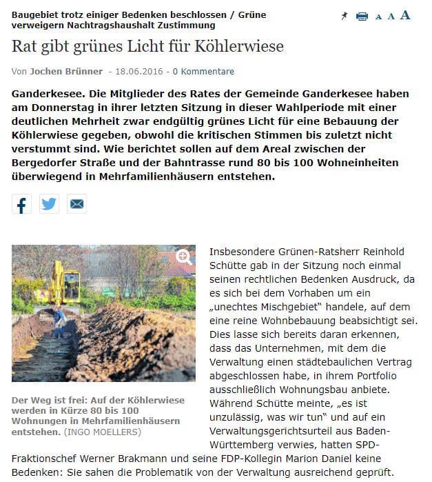 Presseartikel: Rat gibt grünes Licht für Köhlerwiese