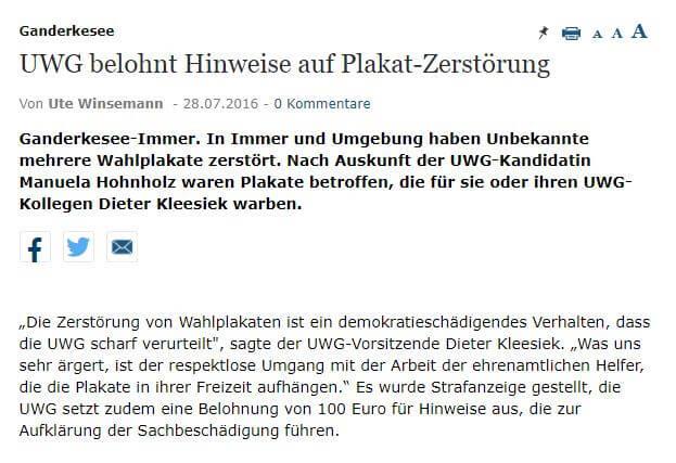 Presseartikel: UWG belohnt Hinweise auf Plakat-Zerstörung
