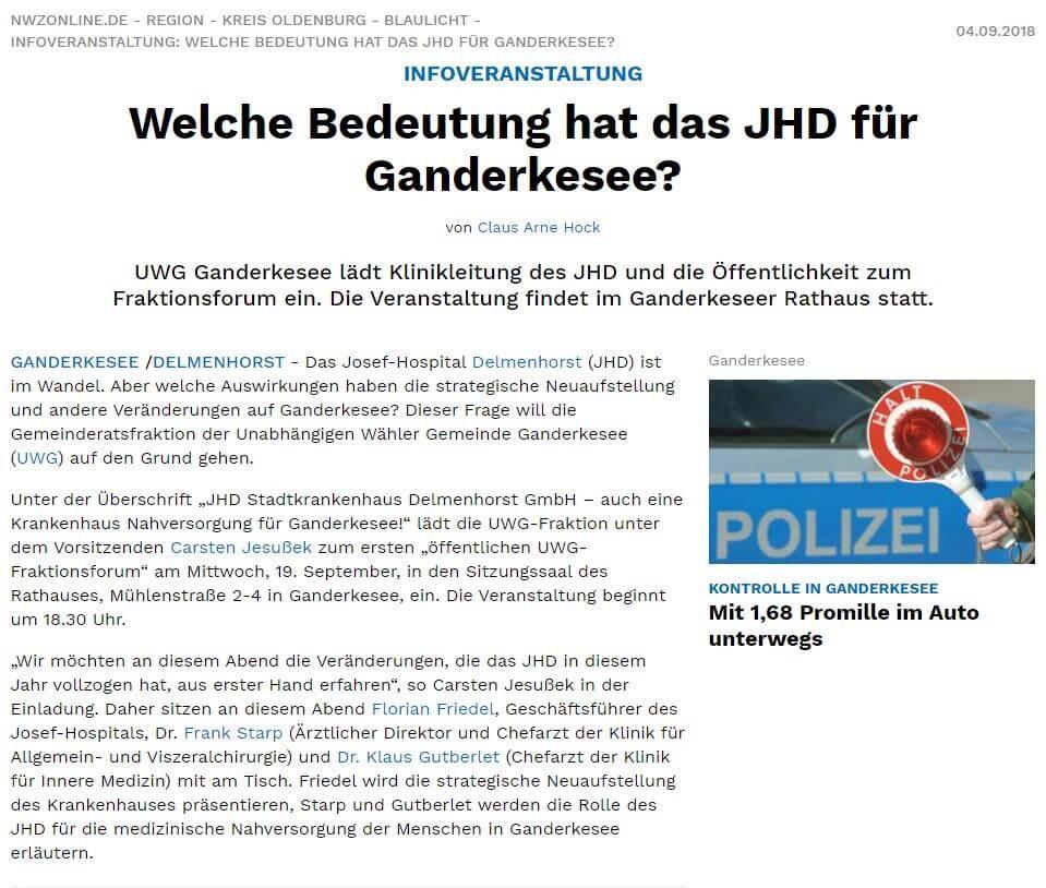 Presseartikel: Welche Bedeutung hat das JHD für Ganderkesee?