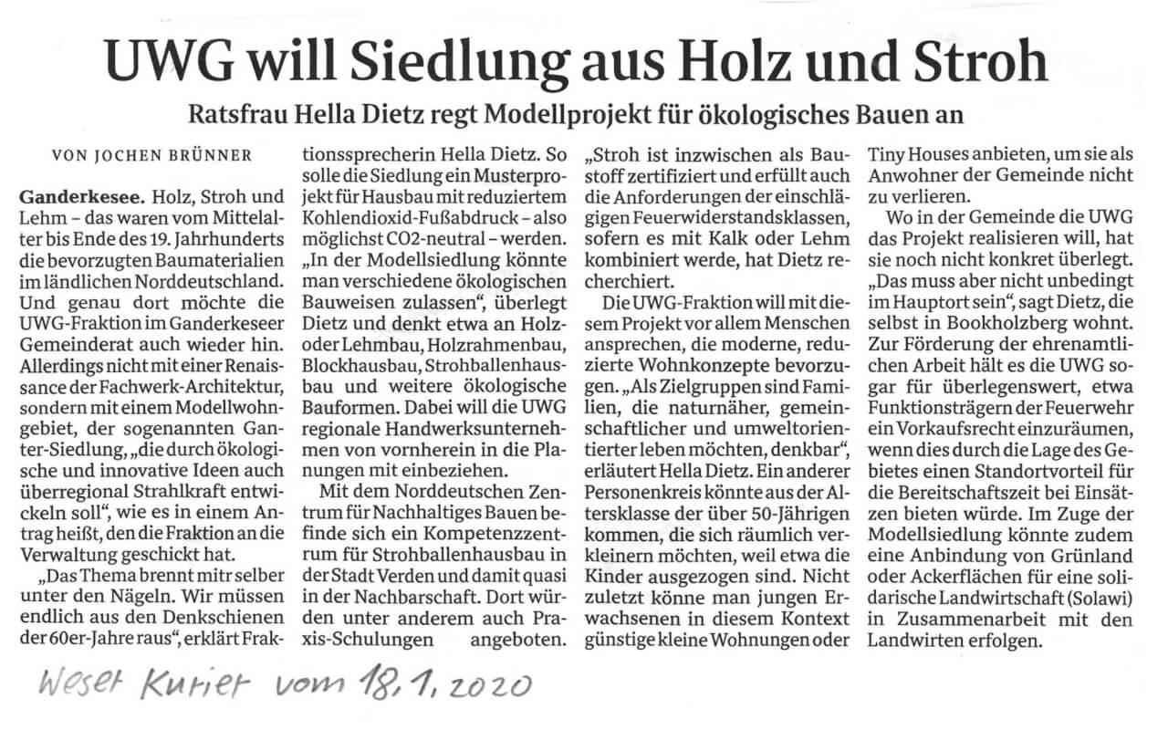 Presseartikel: UWG will Siedlung aus Holz und Stroh