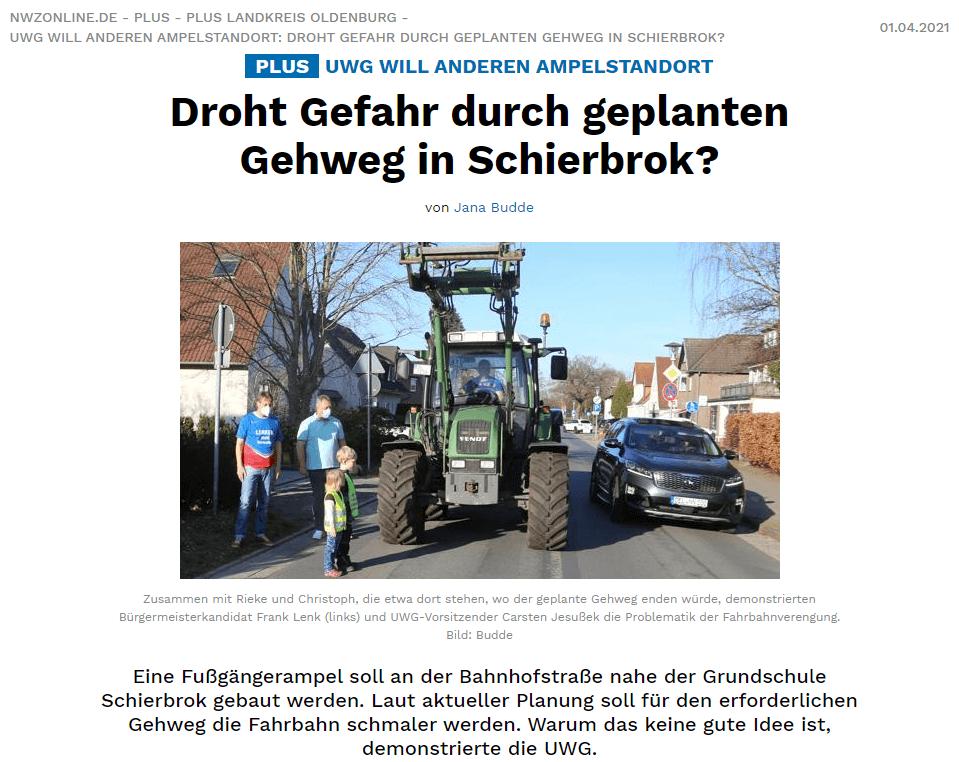 Presseartikel: Droht Gefahr durch geplanten Gehweg in Schierbrok?