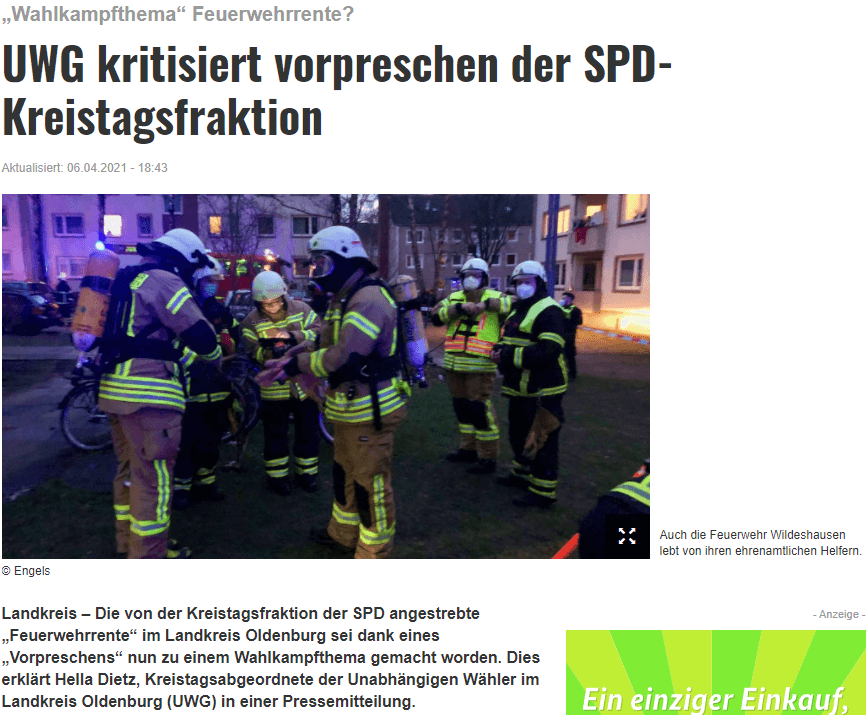 Presseartikel: UWG kritisiert vorpreschen der SPD-Kreistagsfraktion