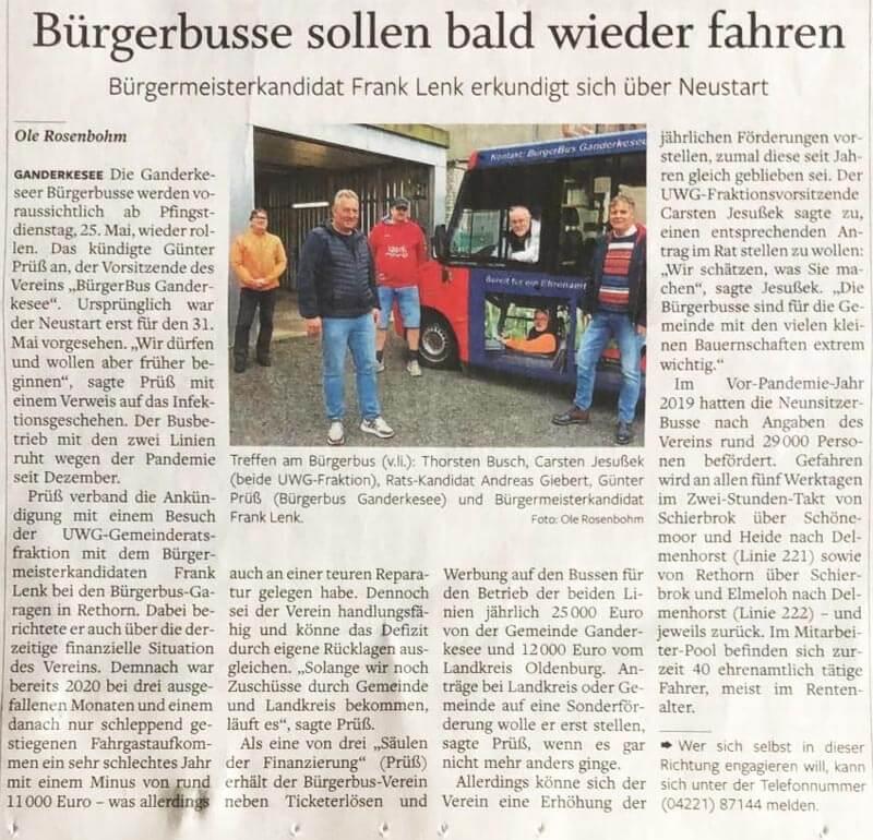 Bürgerbusse sollen bald wieder fahren