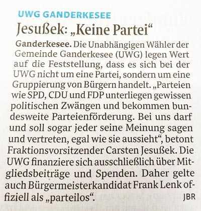 Presseartikel: UWG ist keine Partei