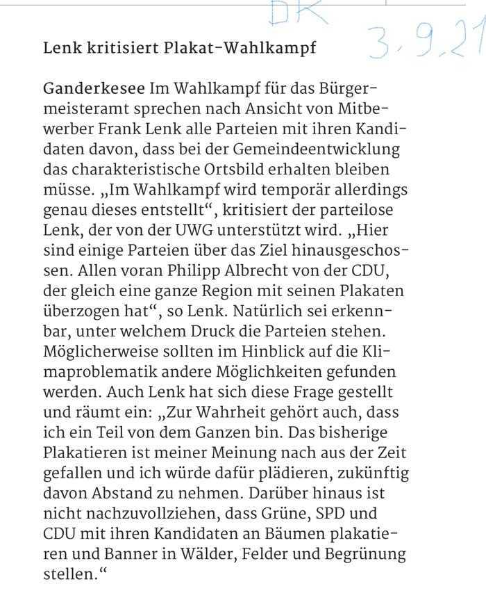 Pressearikel aus dem Delmenhorster Kreisblatt: Lenk kritisiert Plakat-Wahlkampf