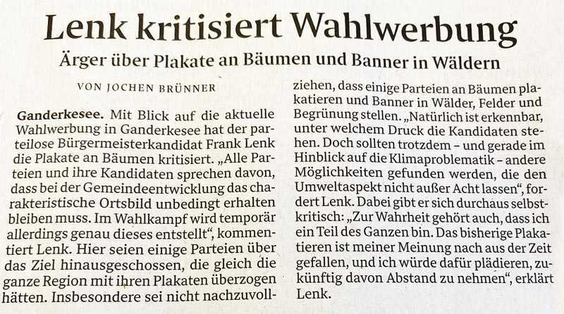 Pressearikel aus der Nordwest-Zeitung: Lenk kritisiert Wahlwerbung