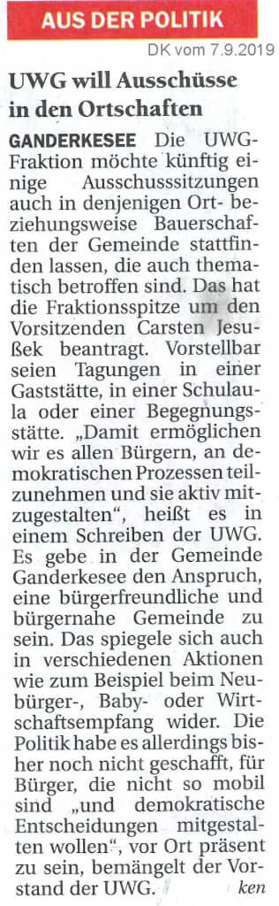 UWG will Ausschüsse in den Ortschaften