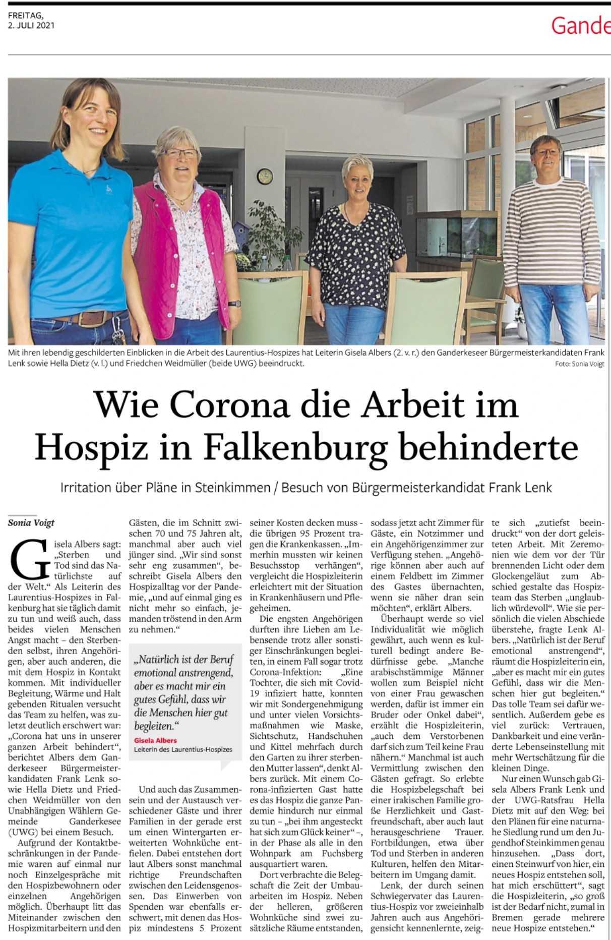 Hella Dietz, Friedchen Weidmüller und Frank Lenk zu Besuch im Hospiz in Falkenburg