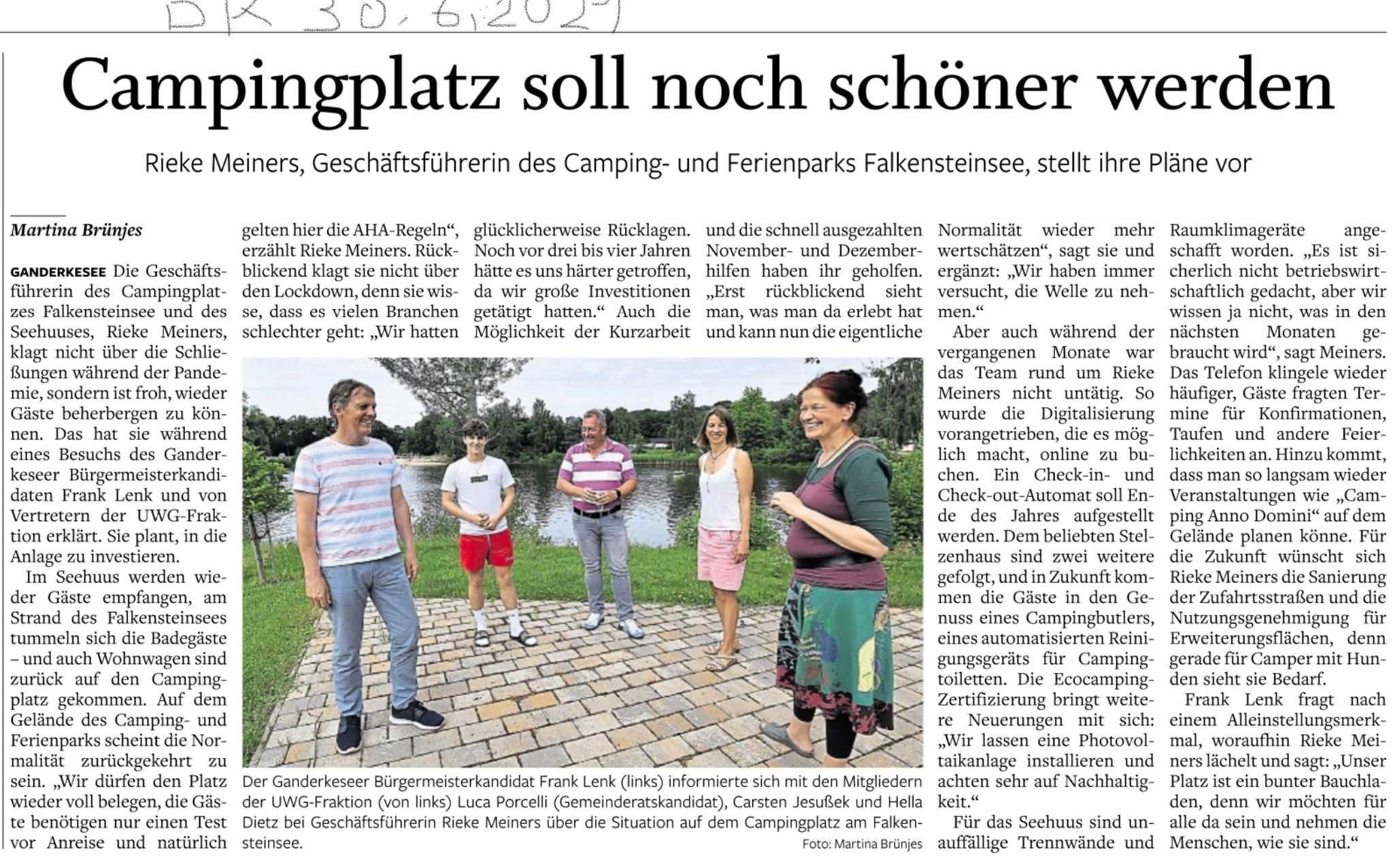 Presseartikel: Campingplatz soll schöner werden